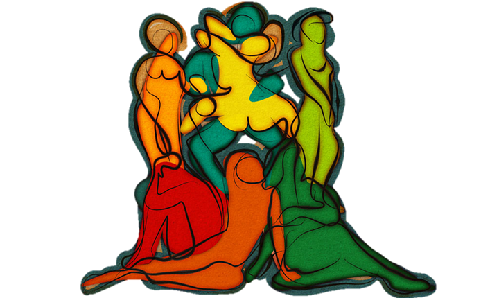 artist depiction of birghtly-colour, abstract bodies intertwined