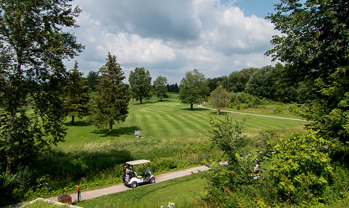 A bright green gold course in a wooded area with a white golf cart in the forefront.