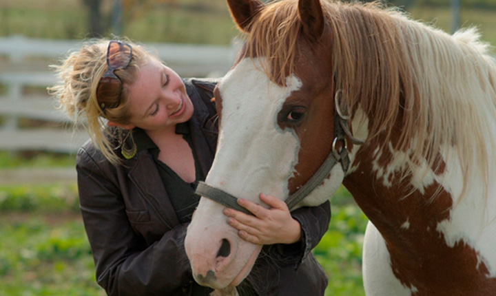 Blonde woman smiling at white and brown (paint) horse