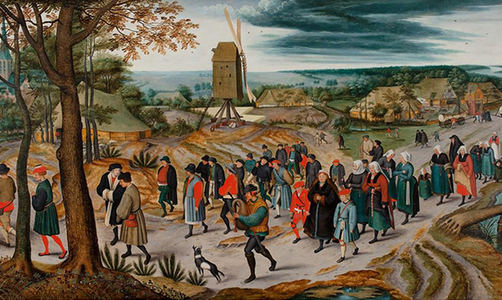 Procession of a Peasant Wedding painting by Flemish painter Jan Brueghel the Elder