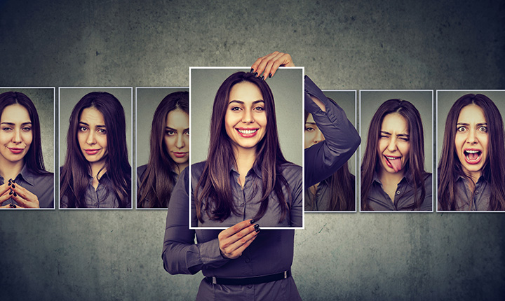Photographs of a person expressing different emotions