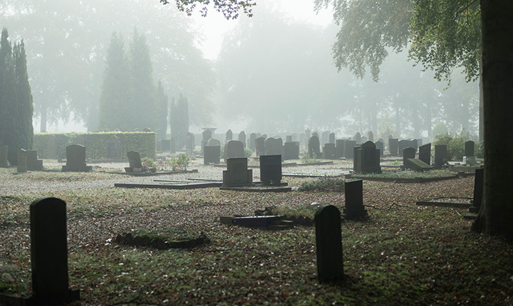 Graveyard shrouded in mist