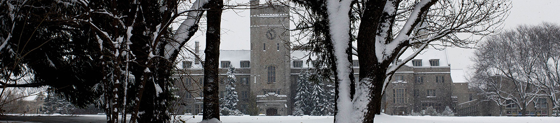 Landscape of snow covered Johnston Hall