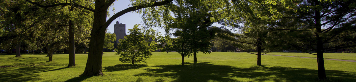 Landscape of Johnston Green at University of Guelph with clock tower in disance